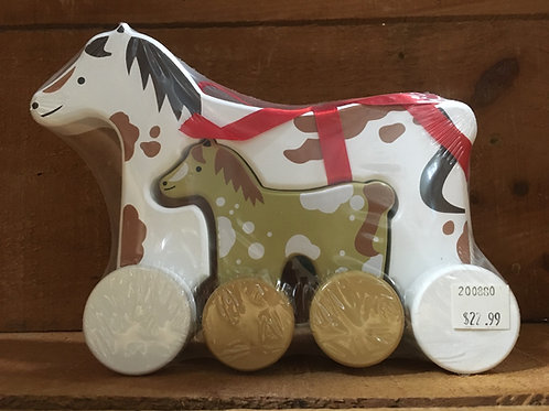"""7"""" x 6"""" Horse Wooden Roller Toy"""