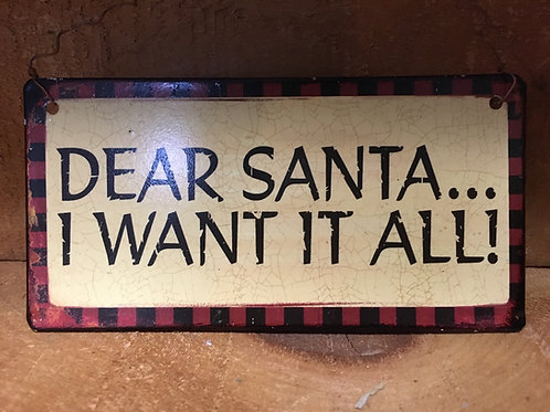 Dear Santa Metal Sign Christmas Tree Ornament