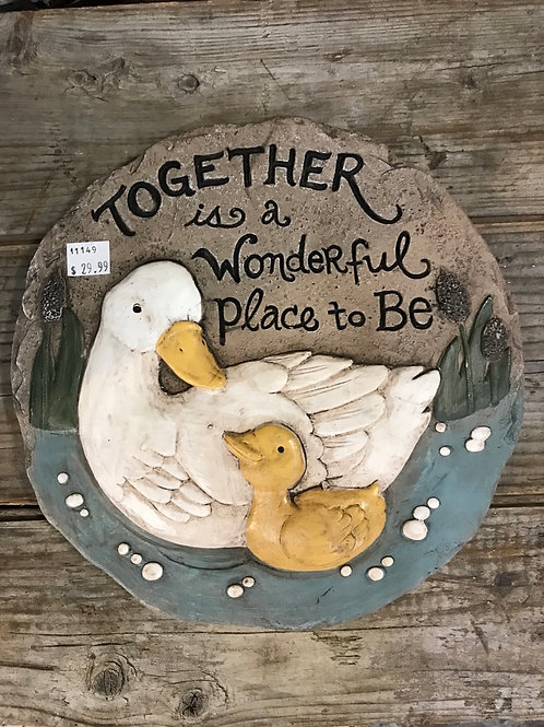 """""""Together is a Wonderful Place to Be"""" Duck Family 10"""" Step Stone by Carson Home"""