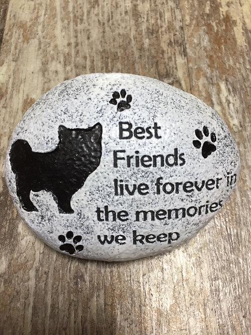 """Best Friends Live..."" 4"" x 3"" x 1.5"" Resin Dog Memorial Stone"