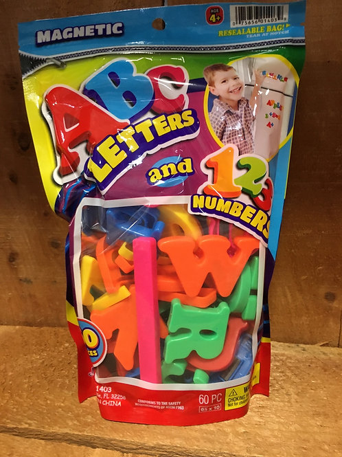 60 Piece Plastic Magnetic ABC Letters and 123 Numbers