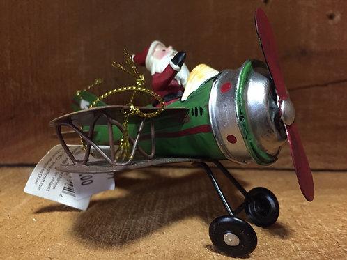 Santa Claus in Airplane Tree Ornament