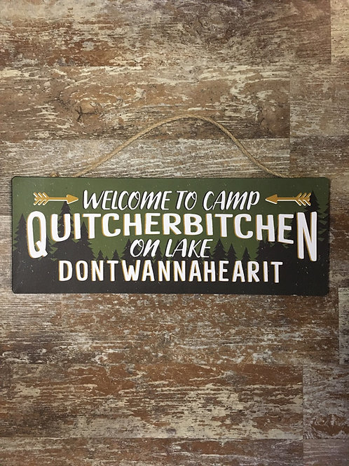 """Welcome to Camp..."""" 16"""" x 6"""" Metal and Paper Sign by GiftCraft"""