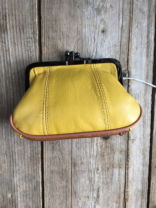 """Yellow 5.25""""x3.25""""x1.25"""" 2 Compartment Change Purse with Side and Bottom Pocket"""