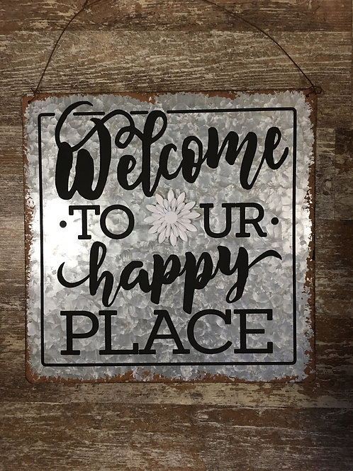 """""""Welcome to Our Happy Place"""" 11.75"""" x 11.75"""" Metal Sign with Magnet by GiftCraft"""