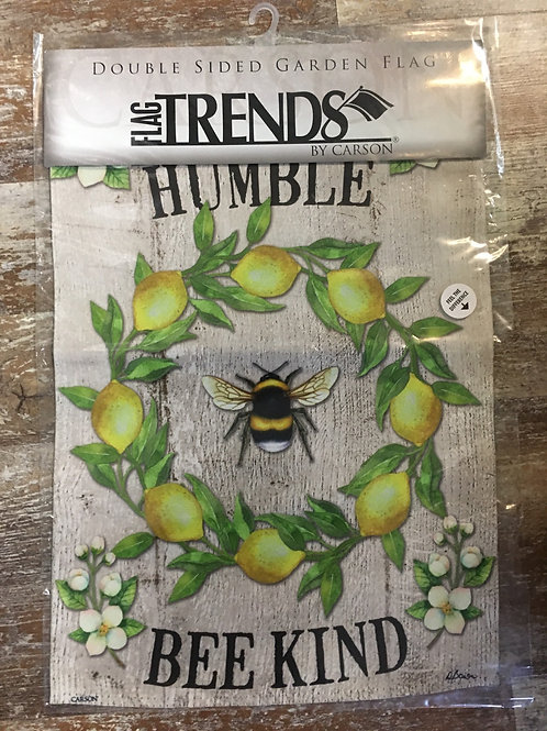 """Bee Humble and Kind"" Lemon 18"" x 12.5"" Double asides Flag Trends Flag by Carson"