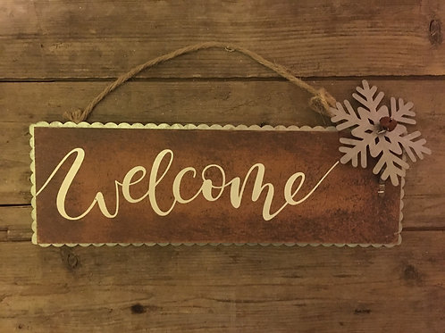 """12"""" x 4"""" """"Welcome"""" Wood and Metal Sign"""