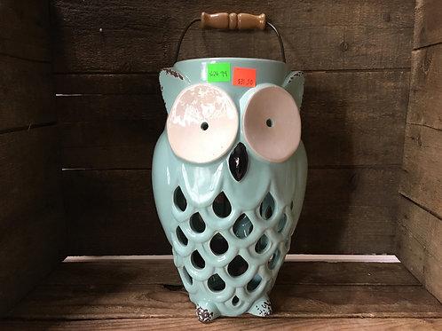 "10.5"" x 6.5"" x 5.5"" Teal Ceramic Owl Votive Candle Holder"