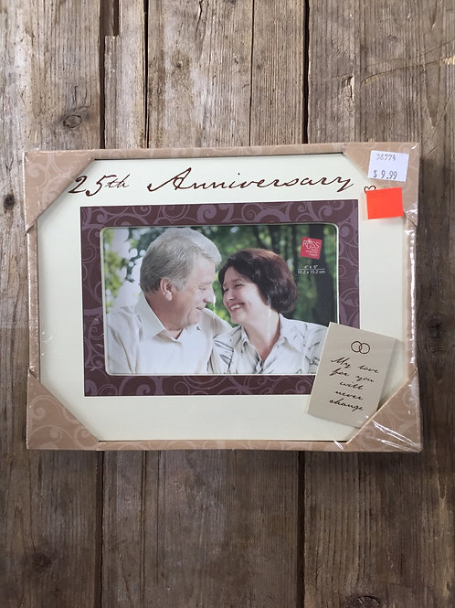 """""""25th Anniversary"""" 9""""x 7"""" Wood 4x6 Photo Picture Frame by Russ"""