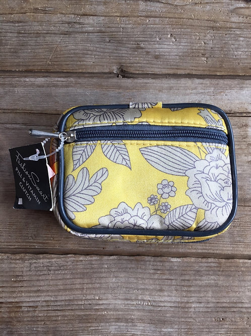 """Yellow Floral 4.5"""" x 3.75"""" x 1.75 Canvas and Plastic Weekly Pill Case"""