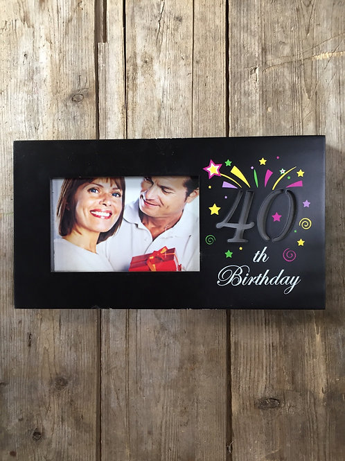 """""""40th Birthday"""" 11.5""""x6.25"""" Light Up 4x6 Sitting or Hanging Photo Picture Frame"""