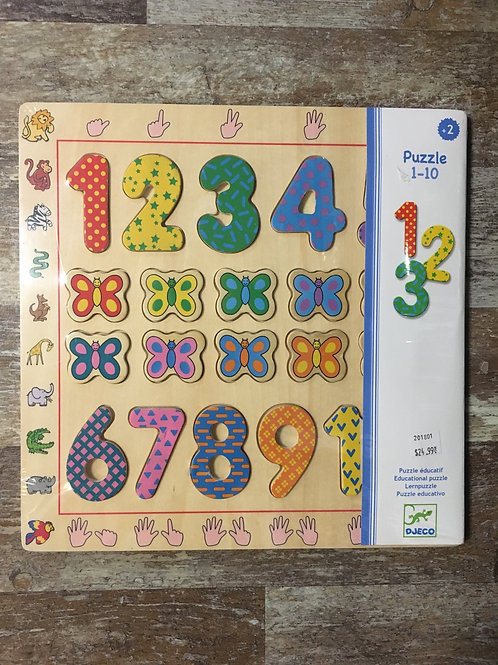 Wooden Numbers 20 Piece Children's Puzzle by Djeco