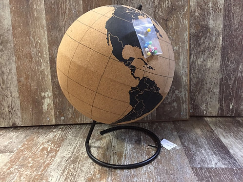 """12.5"""" x 9"""" x 9"""" Cork Globe with Pins by Koppers Imports"""