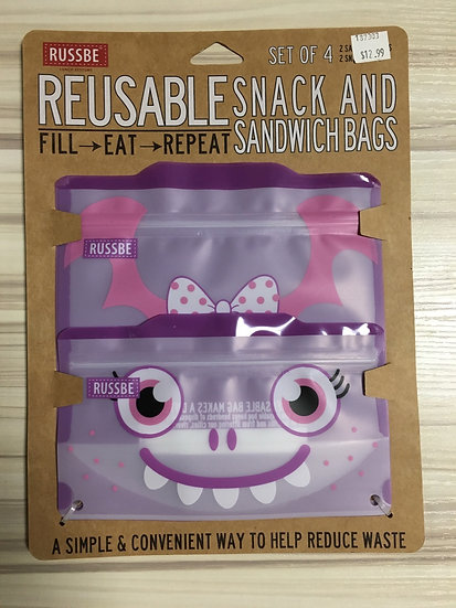 Set of 4 Reusable Snack and Sandwich Bags