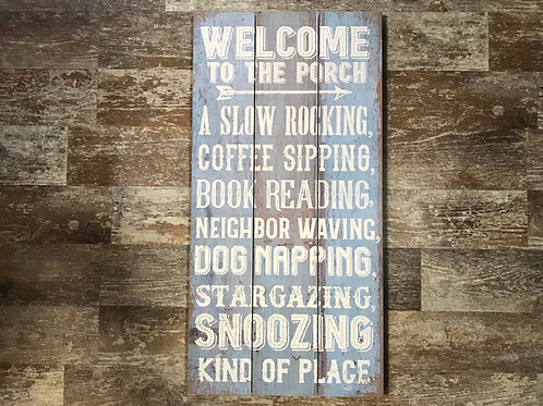 """""""Welcome to the Porch..."""" Blue 24"""" x 12"""" Hanging Wood Sign by GiftCraft"""