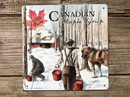 """""""100% Pure Canadian Maple Syrup"""" 8"""" x 8"""" Metal Sign by Elby Gifts"""