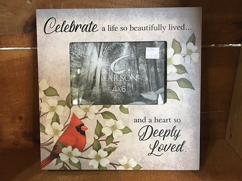 "9.5"" x 9.5"" ""Celebrate a life..."" 4"" x 6"" Photo Frame with Cardinal"