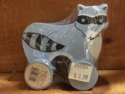 """3.5"""" x 3.5"""" Racoon Wooden Roller Toy"""