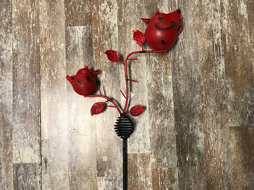 """58"""" x 16"""" Red Metal Bird Wobble Garden Stake by Koppers Imports"""