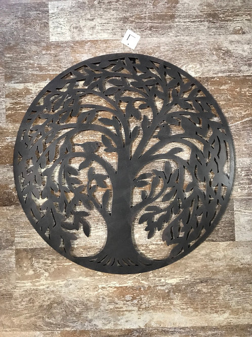 """20"""" x 20"""" Metal Tree of Life with Birds Circle Wreath by Young's Inc"""
