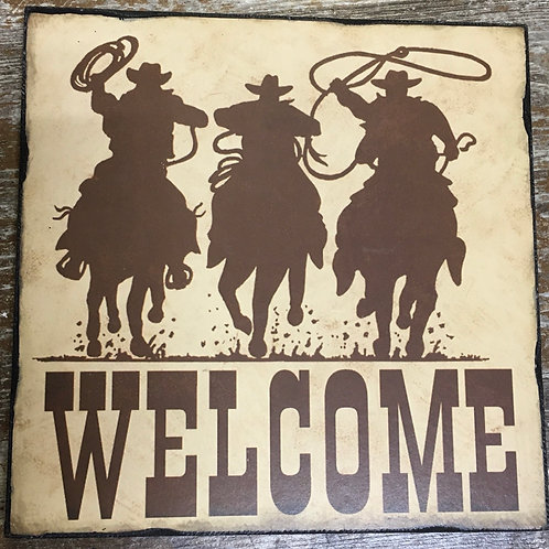 """Wooden Welcome Sign with Cowboys - 9.5"""" x 9.5"""""""
