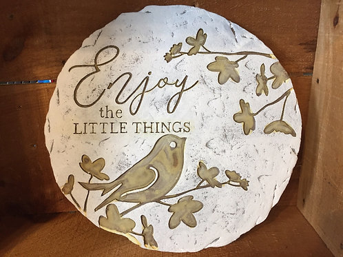 "11"" ""Enjoy the Little Things"" Glow in the Dark Concrete Stepstone"