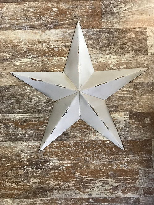 """White Distressed 18.5"""" x 18.5"""" Metal Hanging Star by Koppers Imports"""