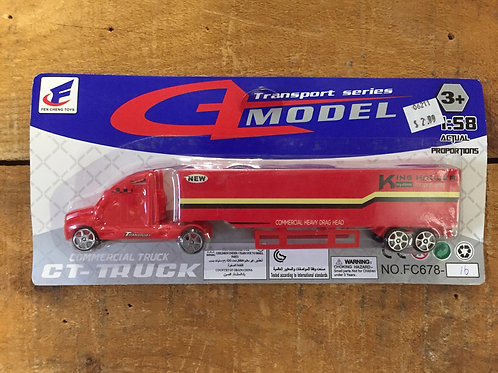 Red Commercial Transport Truck Toy Car