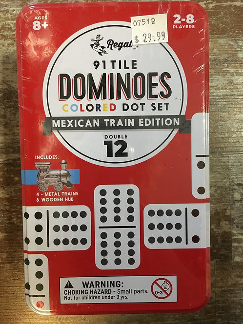 91 Tile Double 12 Dominoes with Mexican Train Hub