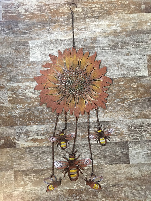 """34"""" x 14"""" Flower and Bee Metal Wall Hanger"""