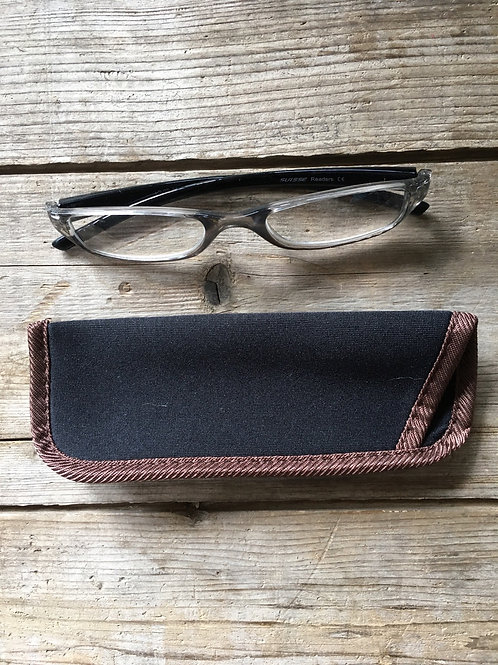 1.25 Strenghth Reading Glasses with Brown Trimmed Fabric Pouch by GiftCraft