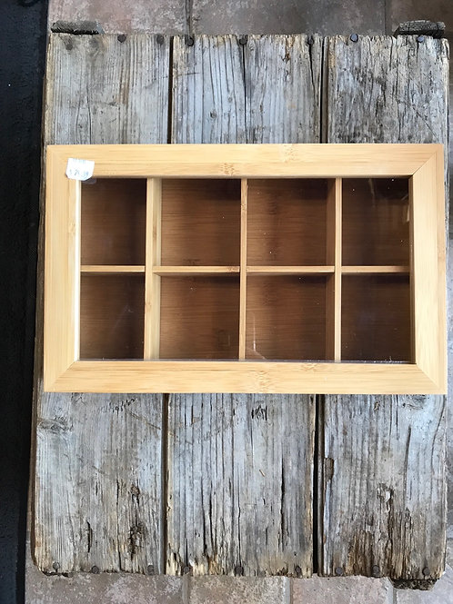 """12.5"""" x 7.75"""" x 2.5"""" Bamboo Tea Box with Plastic Window and Magnet Closure"""