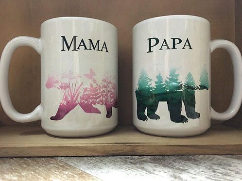 Set of 2 Mama and Papa Bear Ceramic Mugs
