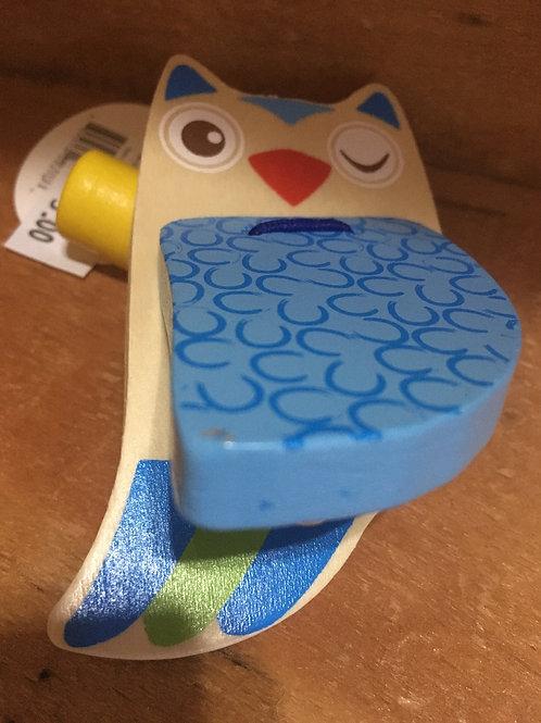 Blue Owl Wooden Castanet Clapper Toy