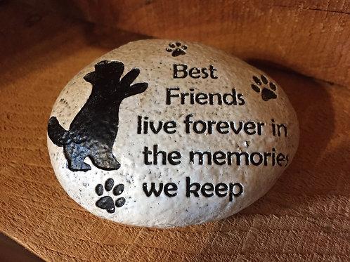 """Best Friends Live in the Memories We Keep"" 4"" x 3"" x 1.5"" Resin Cat Memorial"