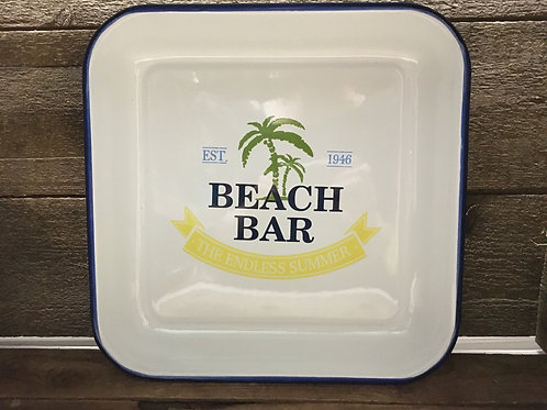 "10.5"" x 10.5"" ""Beach Bar"" Enamel Tray by Abbott"