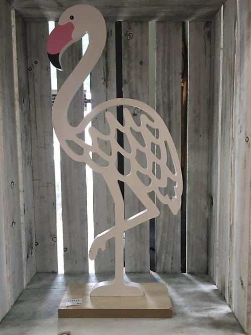 """White Wooden Flamingo Cutout - 16"""" x 7"""" x 3"""""""