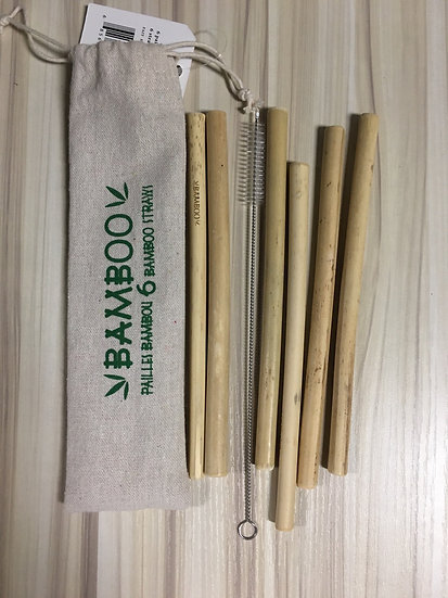 Set of 6 Bamboo Straws with Cleaner