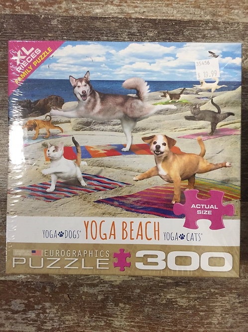 Yoga Cats and Yoga Dogs Yoga Beach - 300 pc Eurographics Puzzle