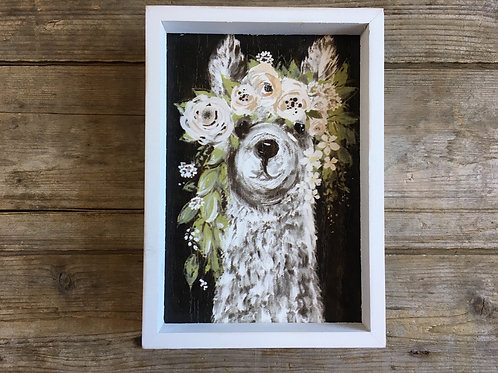 "8"" x 5.75"" Floral Llama Wood Framed Picture"
