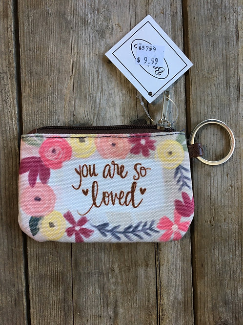"""""""You Are So Loved"""" 5"""" x 3.25"""" Canvas Change Purse by Brownlow Gifts"""