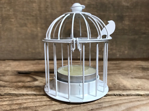 "White Birdcage 3.25"" x 2.5"" x 2.5"" Metal Tea Light Candle Holder - Final Sale"