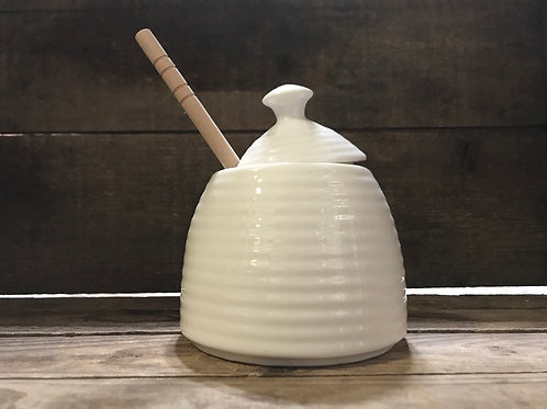"4.5"" x 4"" x 4"" Ceramic Honey Pot with Wood Dipper by Abbott"