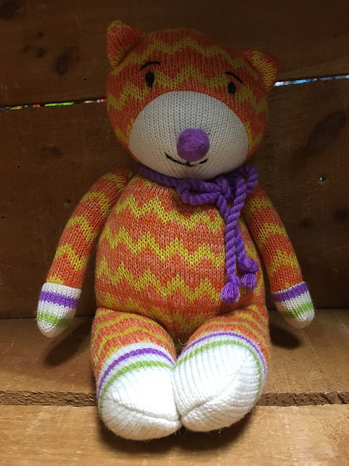 "8"" Kieko the Cat Sock Monkeez & Friends Brand Plush Stuffed Animal"
