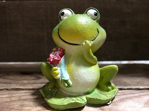 """3"""" x 2.5"""" x 2"""" Resin Frog with Flowers Figurine by SDS Distributors"""