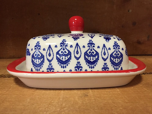Blue Pattered Ceramic Butter Dish