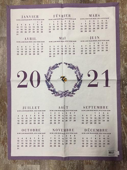 2021 Lavender Wreath Calendar 100% Cotton Kitchen Tea Towel by Abbott