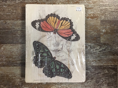 """Yellow and Green Butterfly 11.75"""" x 9"""" Wood Sign"""
