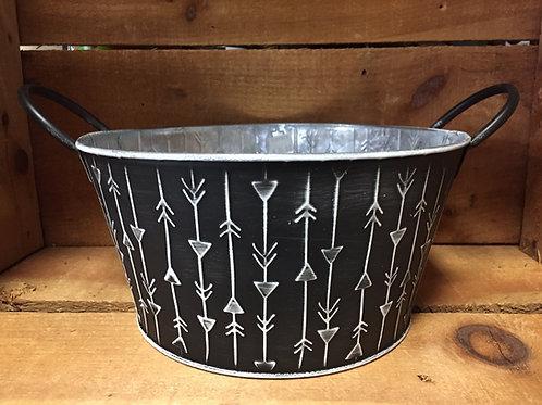 """Black Striped 9"""" x 9"""" x 5"""" Metal Planter Basket"""