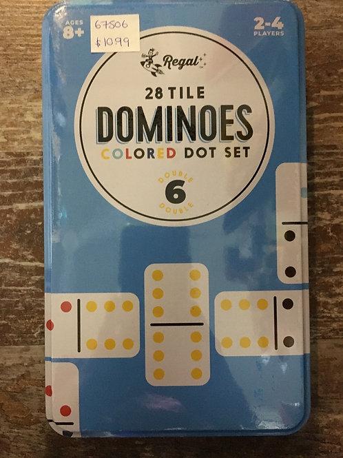 28 Tile Coloured Dot Double Six Dominoes
